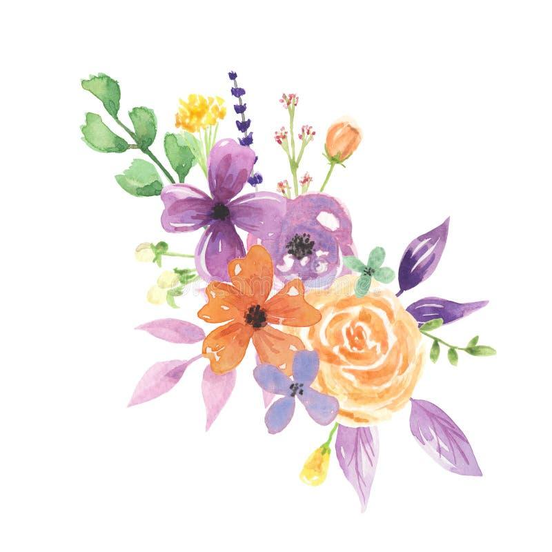 水彩淡紫色Florals莓果花束安排俏丽的婚礼花 皇族释放例证