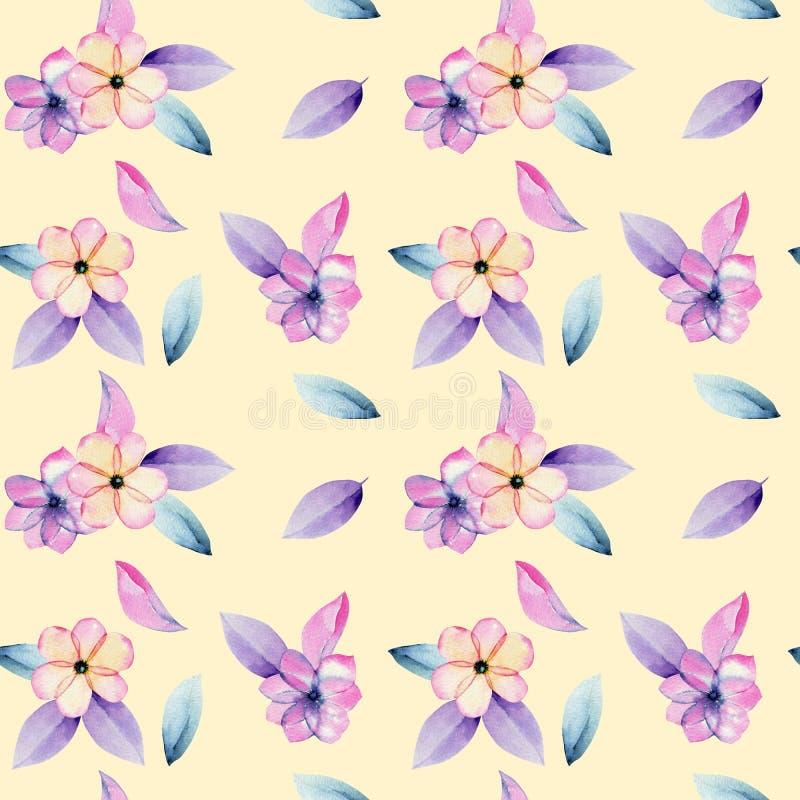 水彩淡色苹果开花花和嫩紫色叶子无缝的样式 皇族释放例证