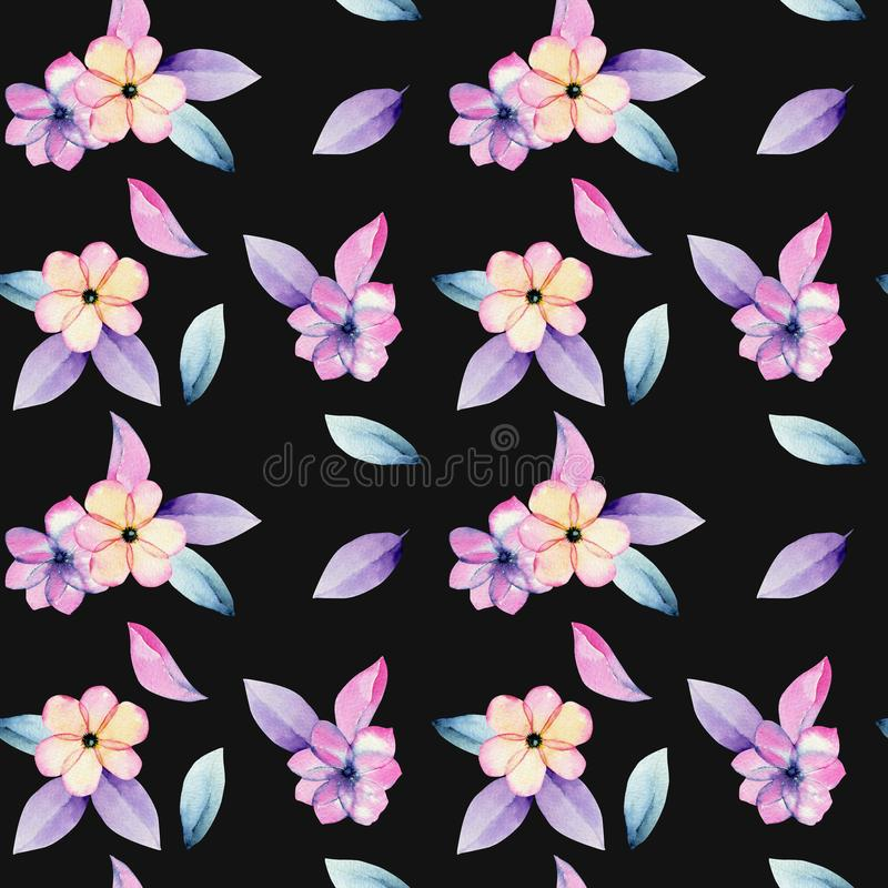 水彩淡色苹果开花花和嫩紫色叶子无缝的样式 库存例证