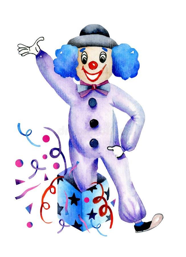 水彩滑稽的马戏团小丑 向量例证