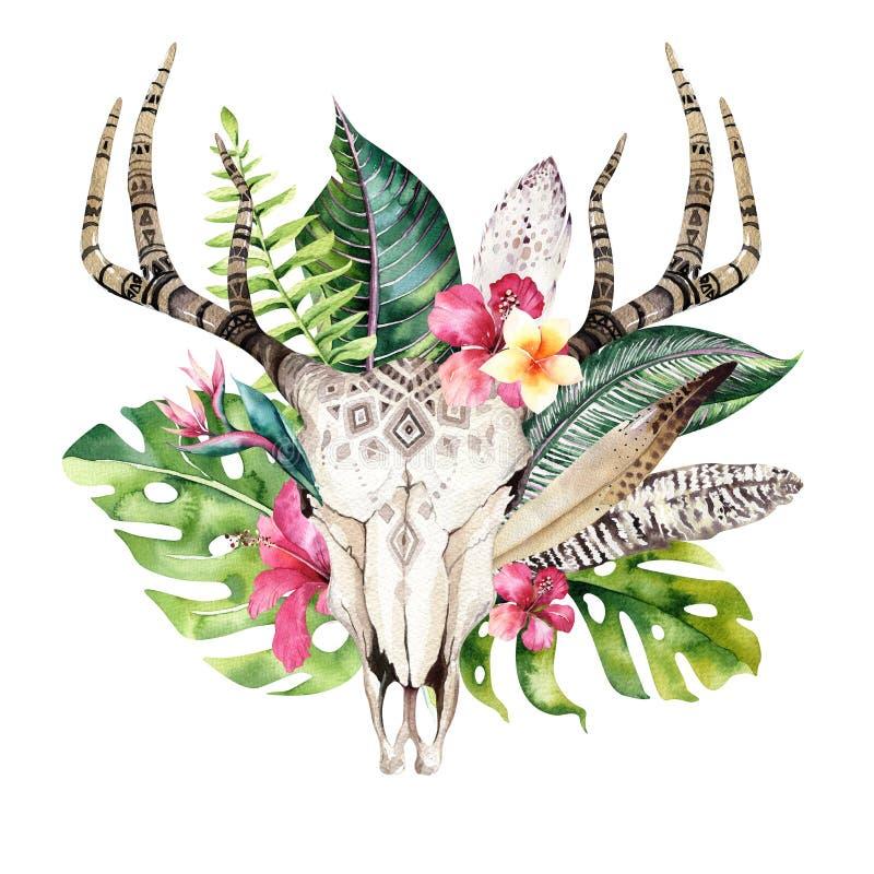 水彩漂泊母牛头骨和回归线棕榈叶 西部鹿哺乳动物 热带鹿boho装饰印刷品鹿角 库存例证