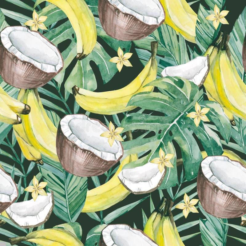 水彩热带叶子和夏天果子 无缝的样式夏天植物的果子香蕉,香蕉、椰子和阳桃切片 皇族释放例证