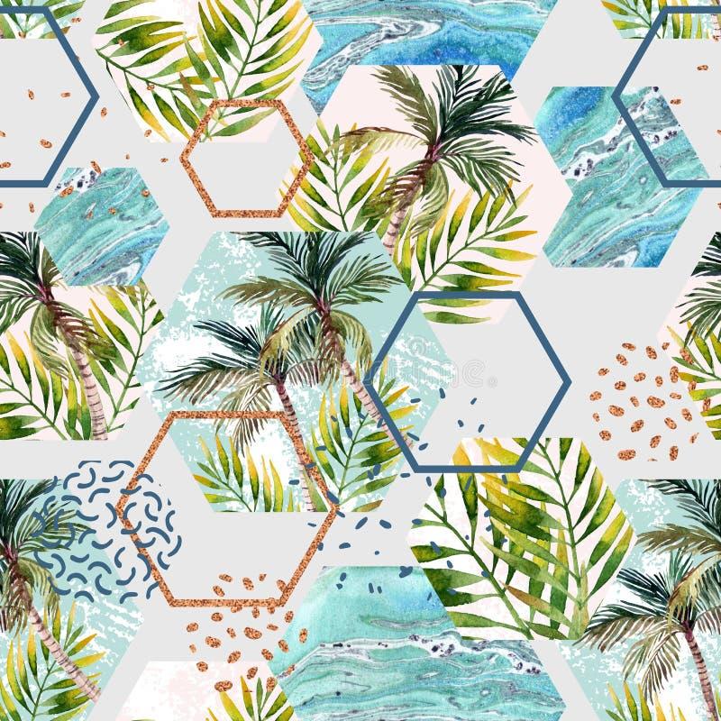 水彩热带叶子和棕榈树在几何形状无缝的样式 向量例证