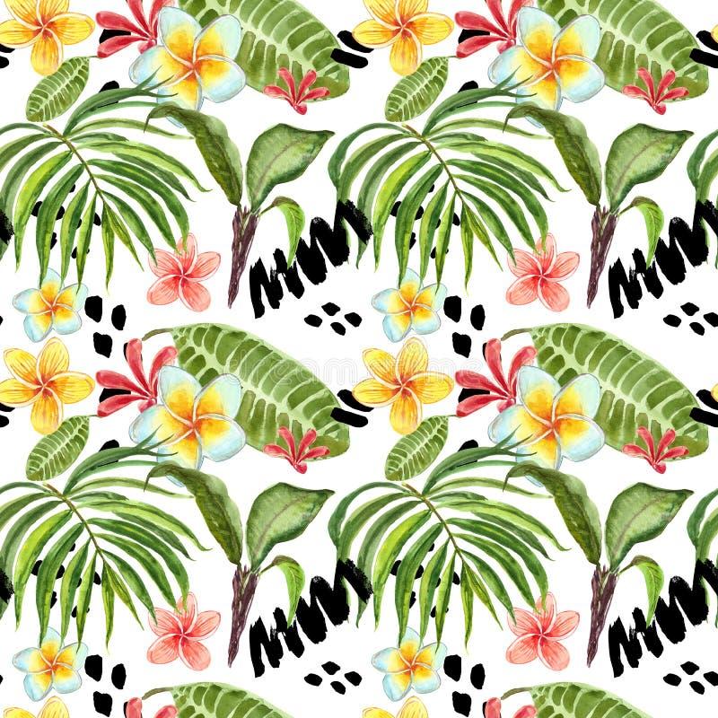 水彩热带叶子无缝的样式 手画棕榈叶、异乎寻常的羽毛花和绿色叶子在白色背景 皇族释放例证