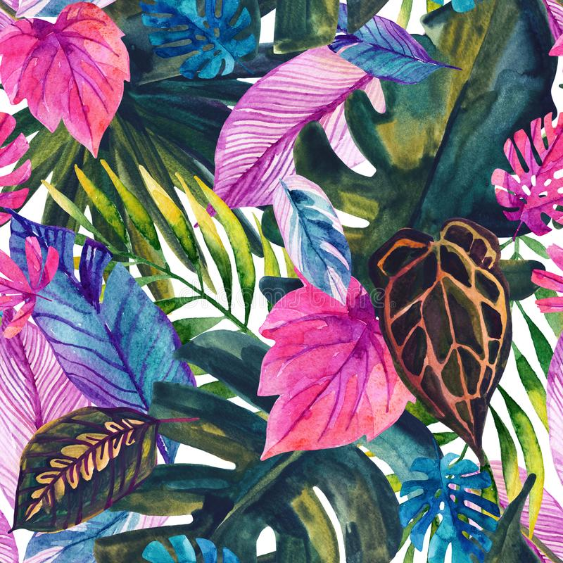 水彩热带叶子无缝的样式 向量例证