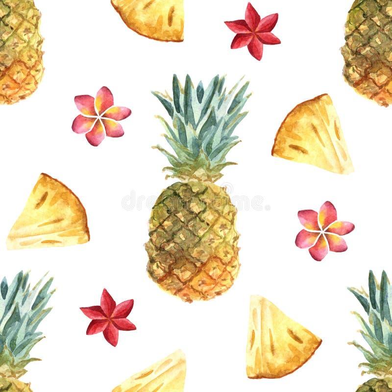 水彩热带无缝的样式用在白色背景的菠萝 向量例证