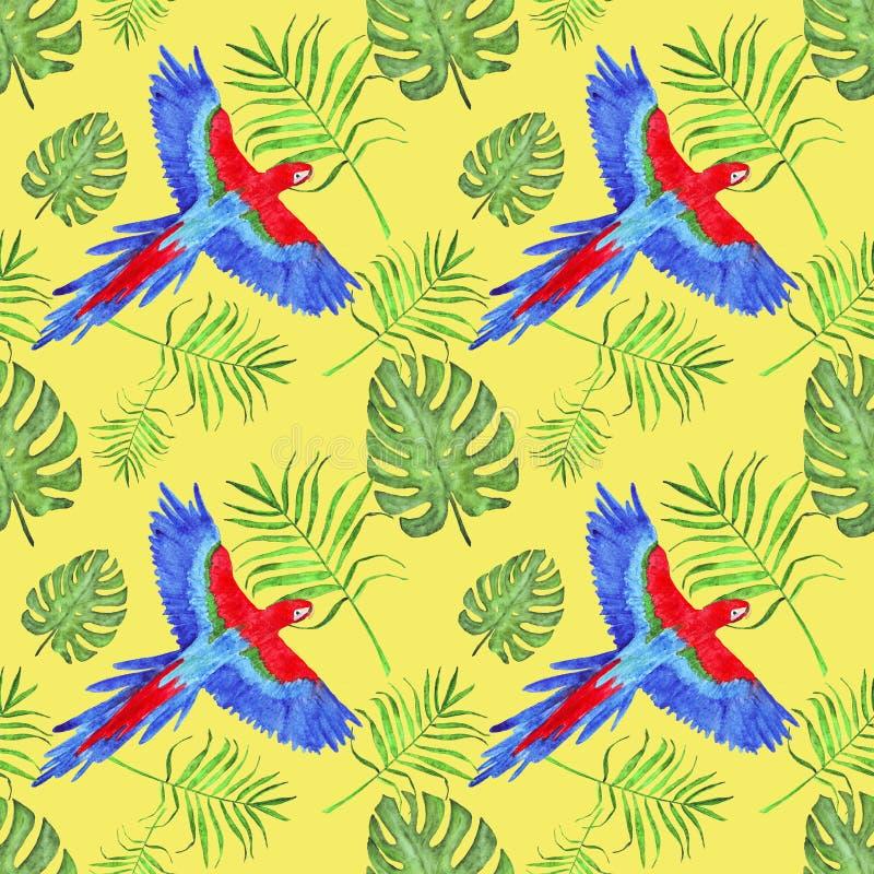 水彩热带无缝的样式鹦鹉金刚鹦鹉留下monstera和棕榈 向量例证