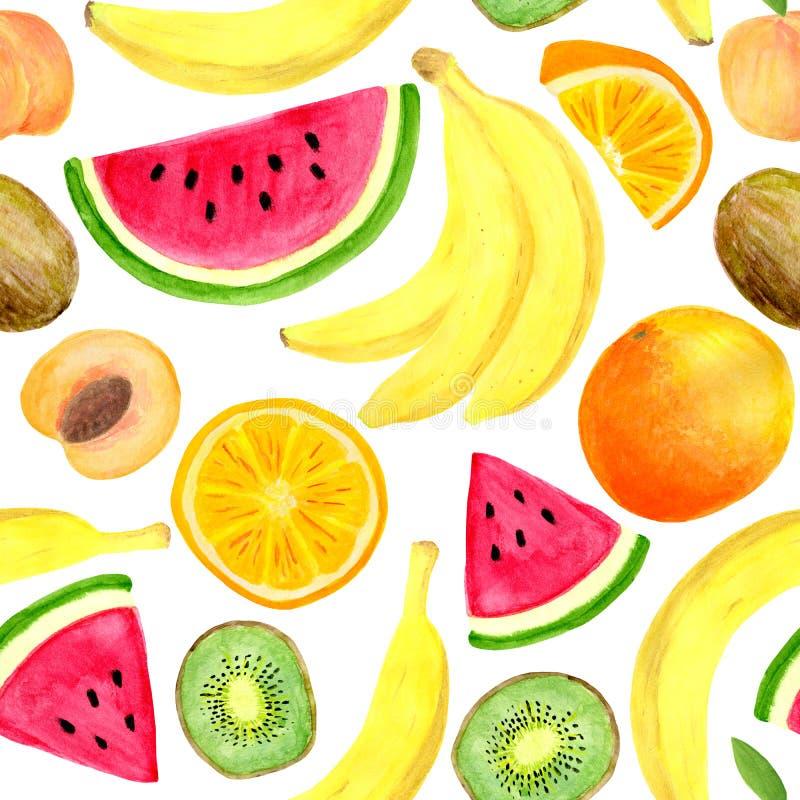 水彩热带水果无缝的样式 手拉的香蕉,猕猴桃切片,桃子,西瓜,在白色背景隔绝的桔子 皇族释放例证