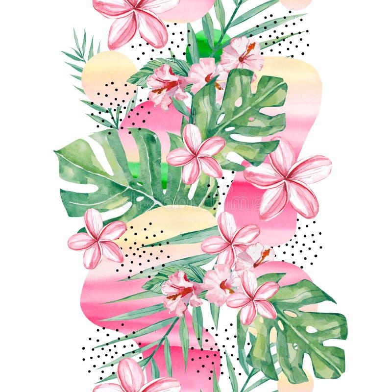 水彩热带花、分支和叶子背景-摘要无缝的样式热带植物 向量例证