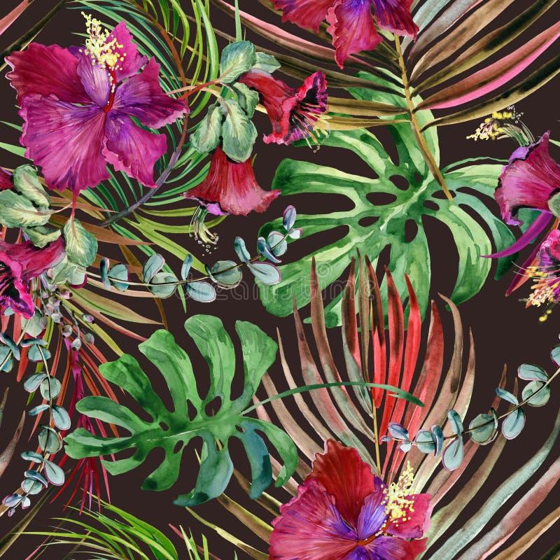 水彩热带花卉无缝的样式 手拉的狂放的自然例证 皇族释放例证