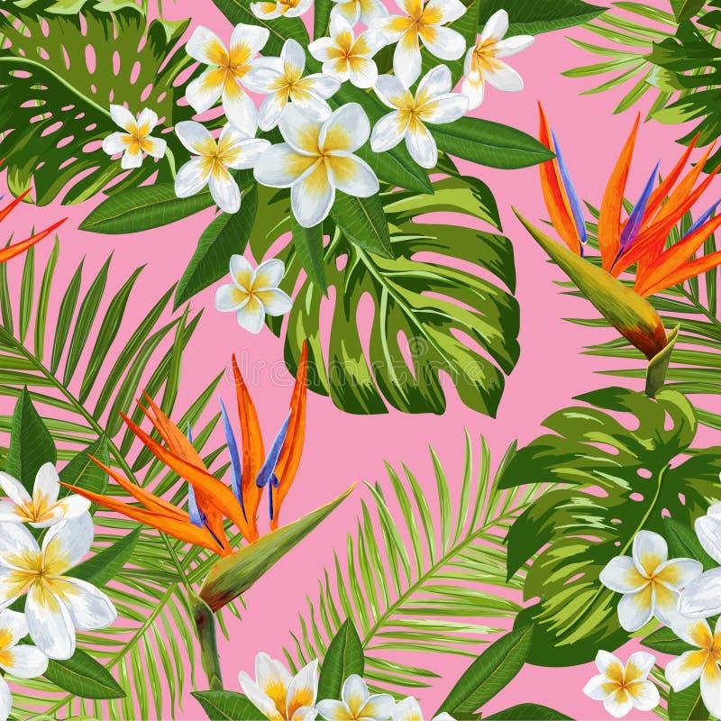 水彩热带花和棕榈叶无缝的样式 花卉手拉的背景 开花的羽毛花 库存例证