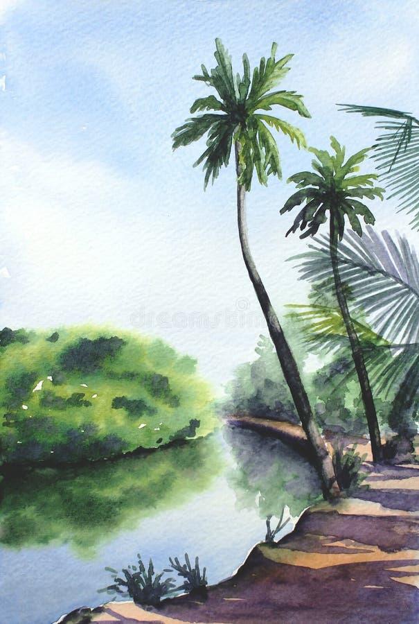 水彩热带风景 向量例证