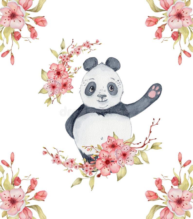 水彩熊猫与佐仓花装饰逗人喜爱的动物的卡片例证 库存图片