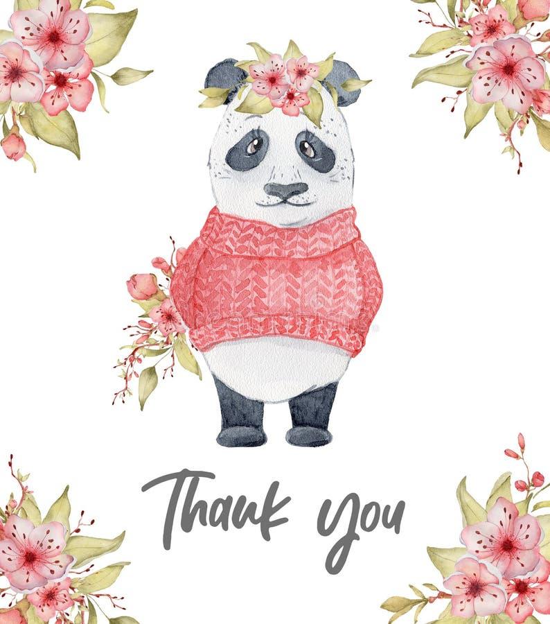 水彩熊猫与佐仓花装饰逗人喜爱的动物的卡片例证 图库摄影