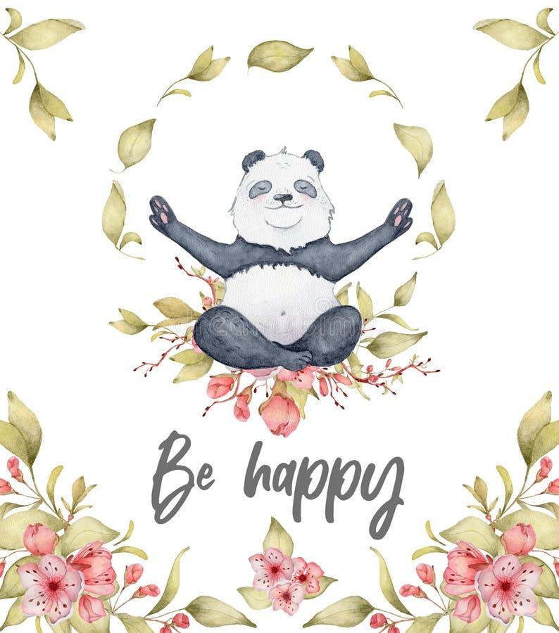 水彩熊猫与佐仓花装饰逗人喜爱的动物的卡片例证 免版税库存图片