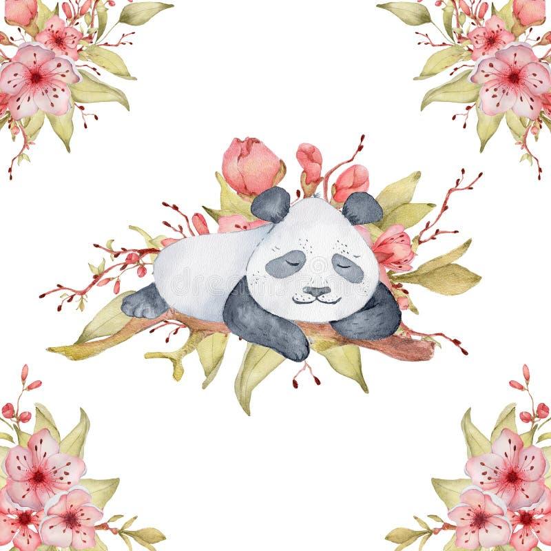 水彩熊猫与佐仓花装饰逗人喜爱的动物的卡片例证 免版税图库摄影