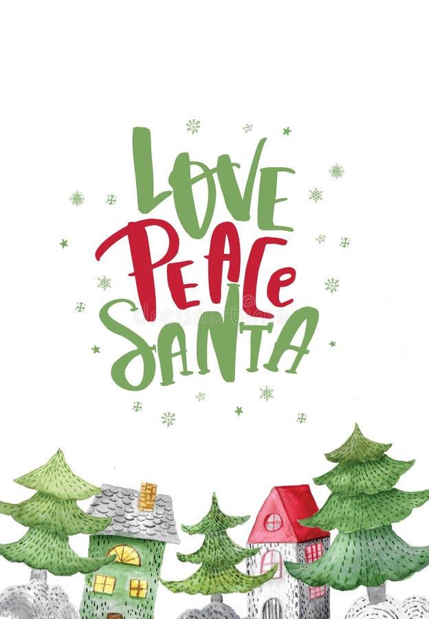水彩爱和平与房子和树的圣诞老人行情 欢乐冬天装饰 抽象空白背景圣诞节黑暗的装饰设计模式红色的星形 皇族释放例证