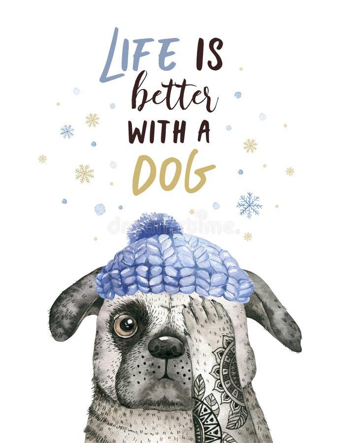 水彩特写镜头逗人喜爱的狗圣诞快乐画象  背景查出的白色 手拉的美好的家庭新年 向量例证