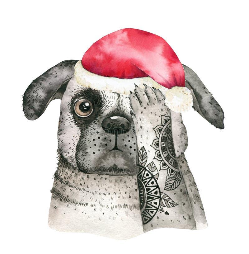 水彩特写镜头逗人喜爱的狗圣诞快乐画象  背景查出的白色 手拉的美好的家庭新年 皇族释放例证