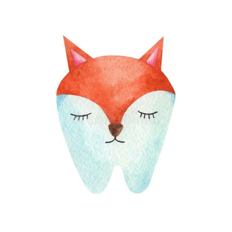 水彩狐狸的singl牙 皇族释放例证