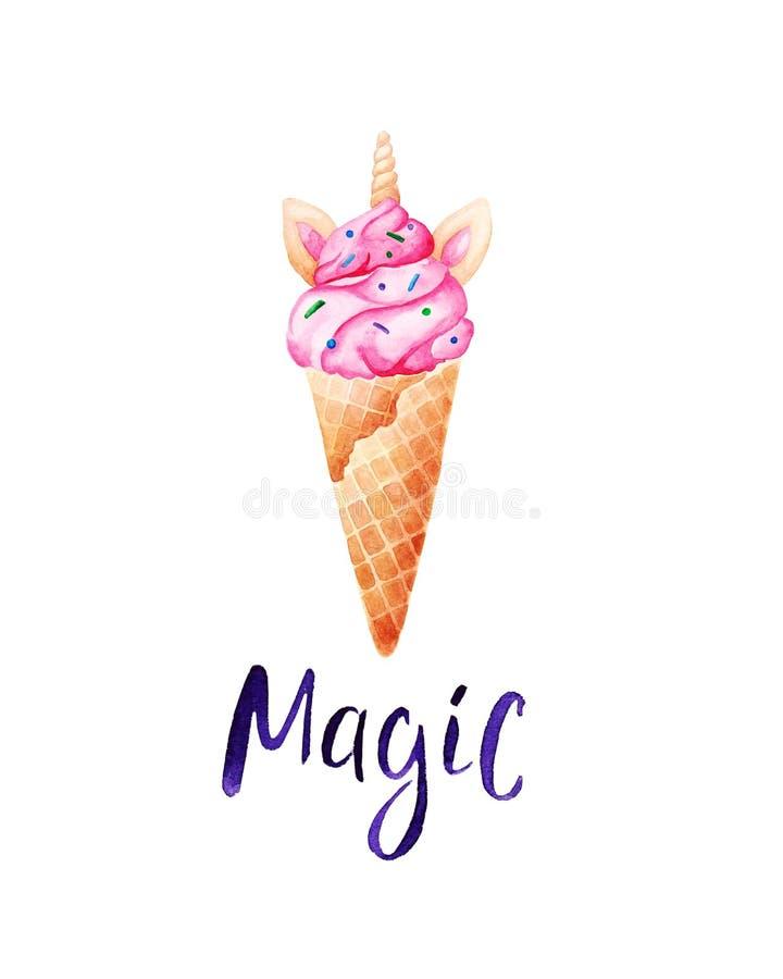 水彩独角兽冰淇凌卡片 独角兽是真正的 对设计、印刷品或者背景 库存图片