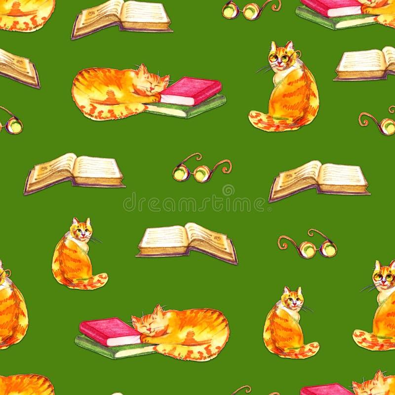 水彩猫无缝的墙纸 动画片动物儿童例证 Emoji绿色样式背景 皇族释放例证