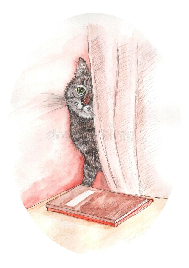 水彩猫的例证 皇族释放例证