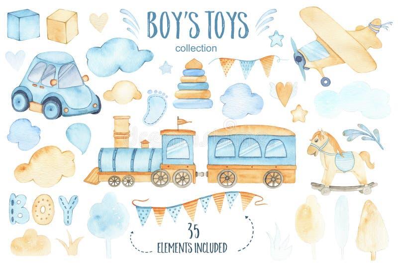 水彩男孩玩具与汽车飞机火车诗歌选和树的婴儿送礼会集合覆盖 皇族释放例证