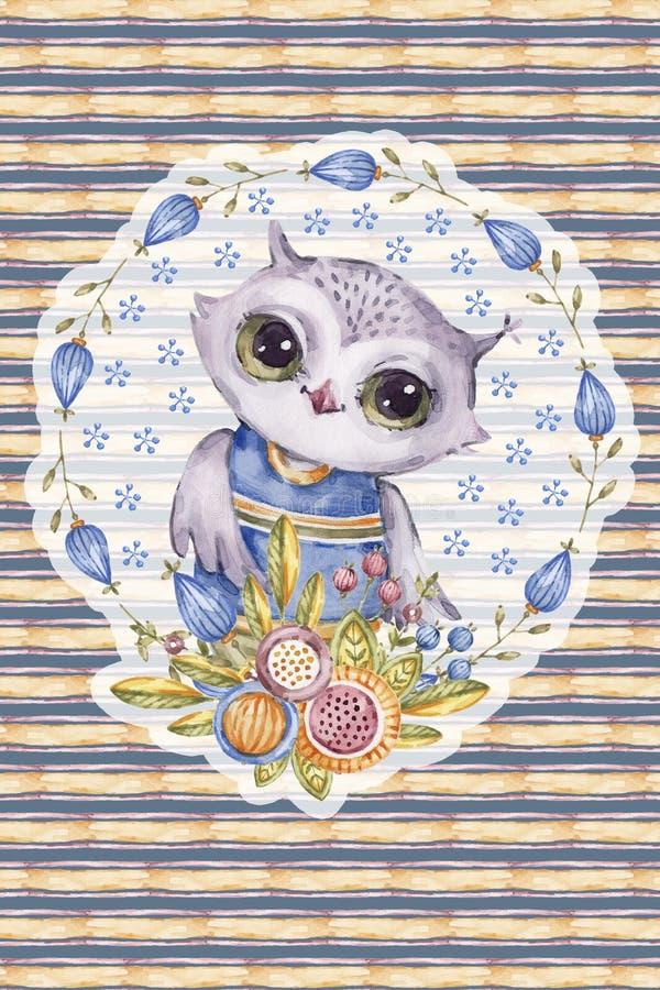 水彩画猫头鹰,幼稚样式,镶边背景 向量例证
