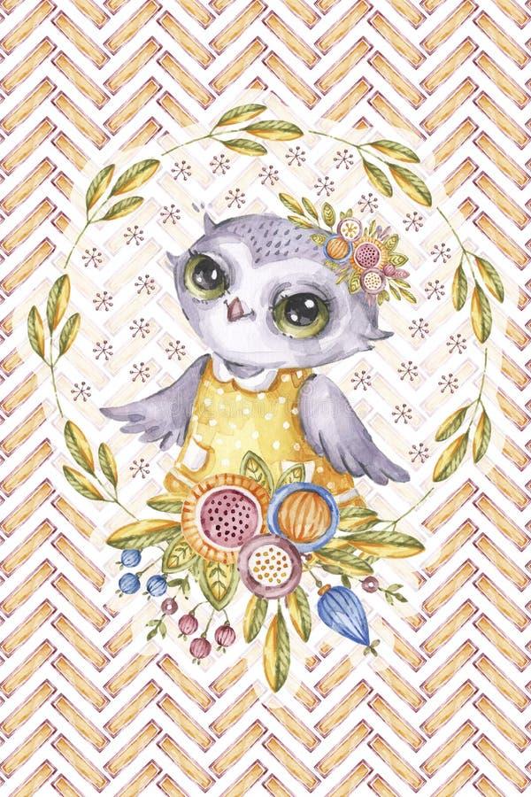 水彩画猫头鹰,花框架,之字形背景 向量例证