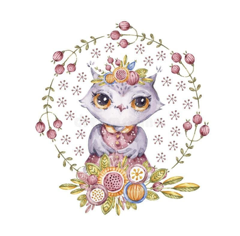 水彩画猫头鹰,花花圈,童话字符 库存例证