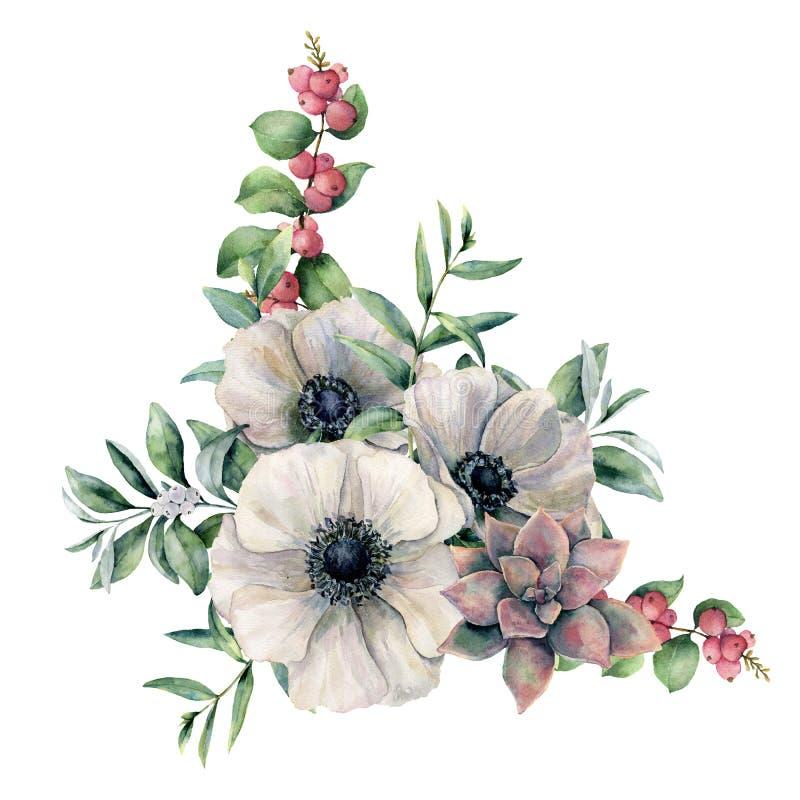 水彩白色银莲花属和桃红色多汁花束 手画五颜六色的花、玉树叶子和莓果 皇族释放例证