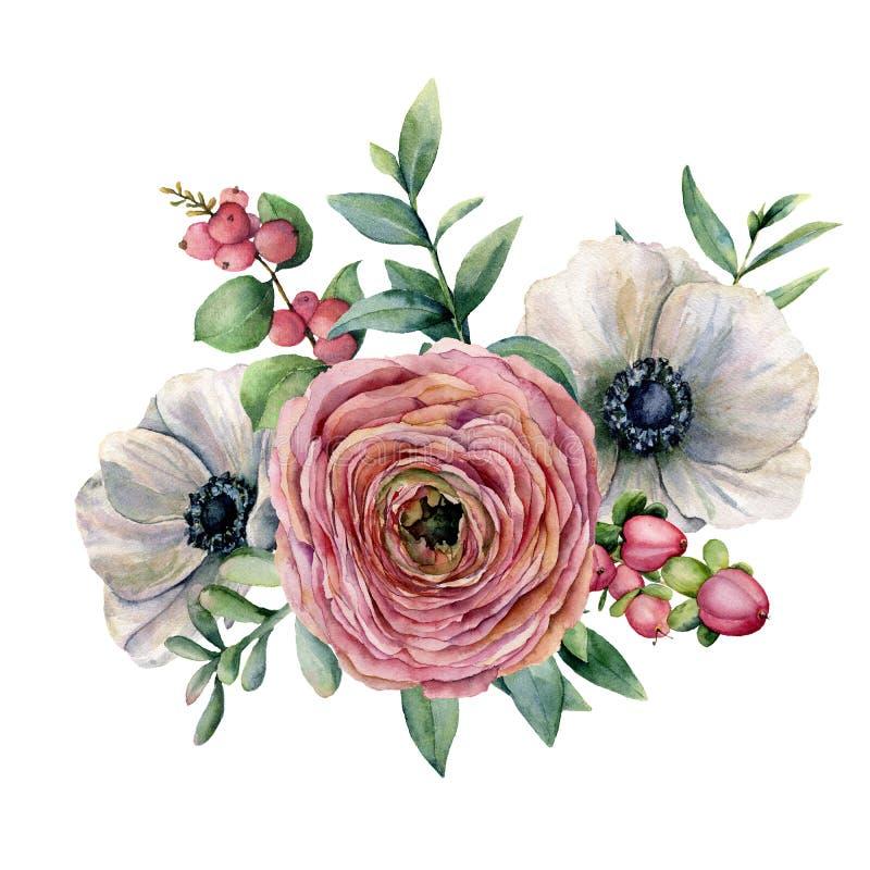 水彩百花香用莓果 手画银莲花属、毛茛属、euvaliptus叶子和多汁分支 库存例证