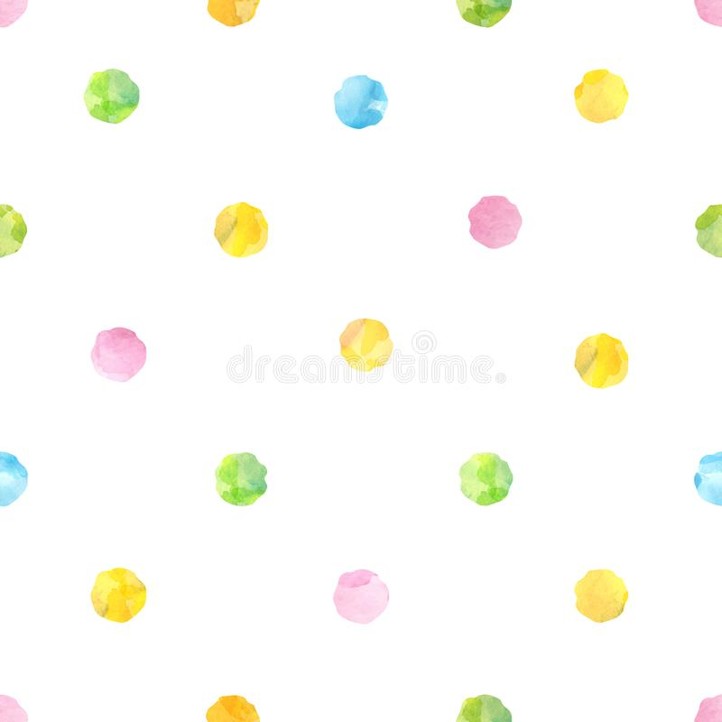 水彩的无缝的样式绘了圆的样式 库存例证