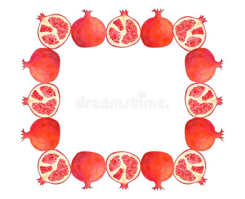 水彩石榴长方形框架 在食物成套设计的白色隔绝的手拉的红色果子例证边界, 皇族释放例证