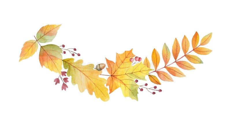 水彩秋天与在白色背景和分支的传染媒介花圈隔绝的叶子 向量例证