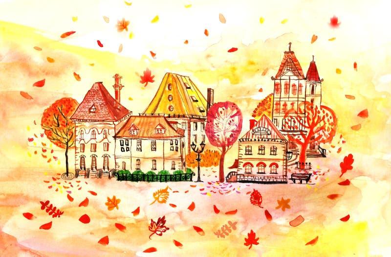 水彩秋天与树和叶子的风景背景 秋天公园风景 向量例证