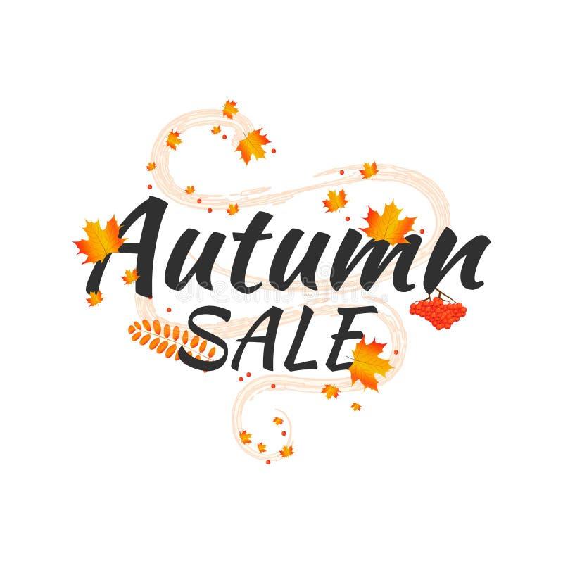 水彩秋天叶子传染媒介销售横幅 库存图片