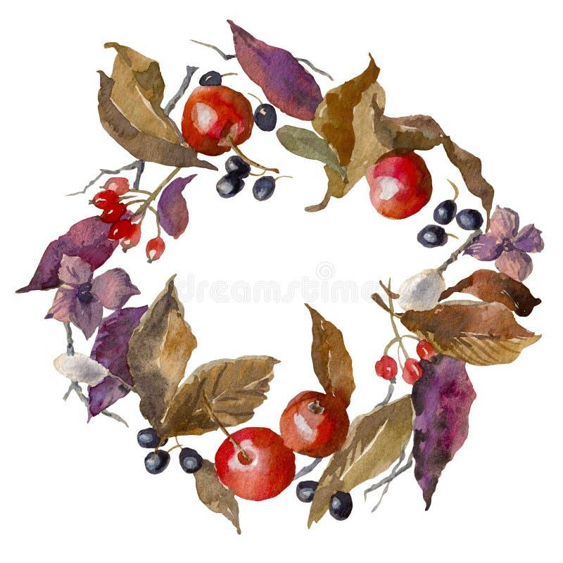 水彩秋天框架 背景 花圈由手拉的叶子、苹果和莓果做成 可以使用不尽的纹理 库存例证