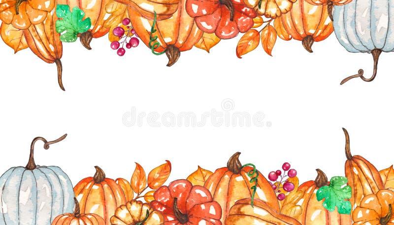 水彩秋天模板用南瓜,黄色叶子,莓果 皇族释放例证