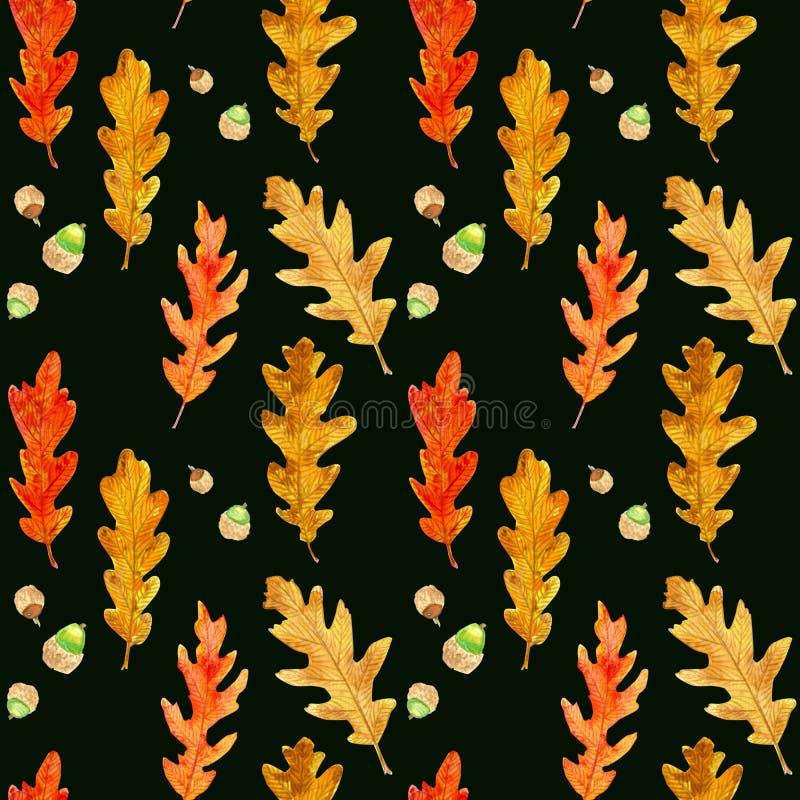 水彩秋天橡木在黑色留下无缝的样式 皇族释放例证
