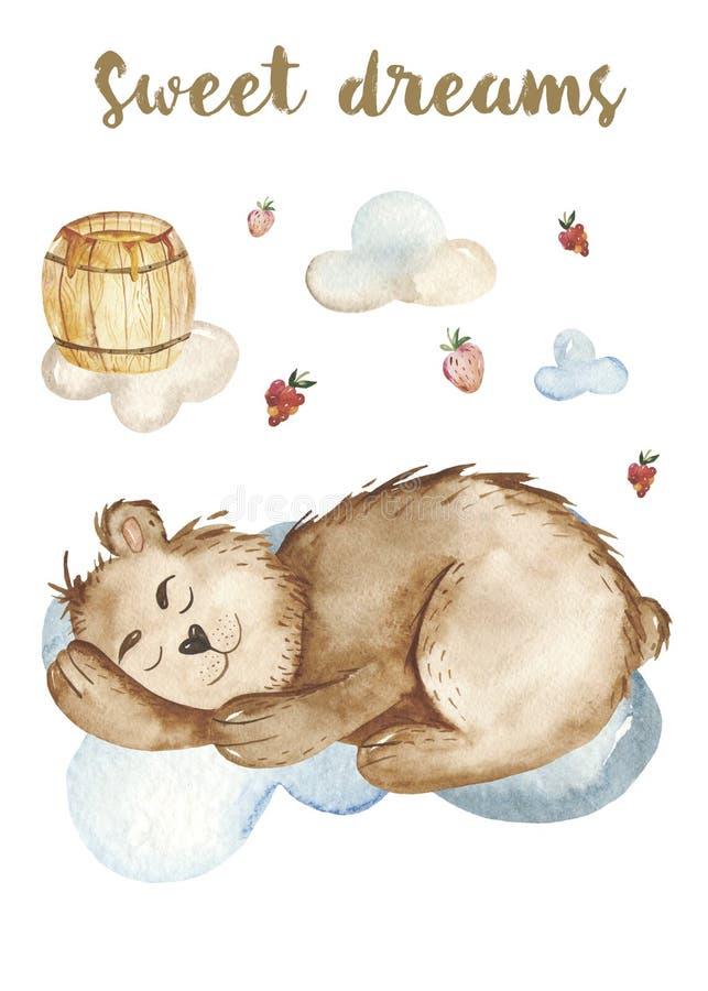 水彩秋天集合,与一头逗人喜爱的动画片睡觉熊,桶的卡片蜂蜜,木头 向量例证