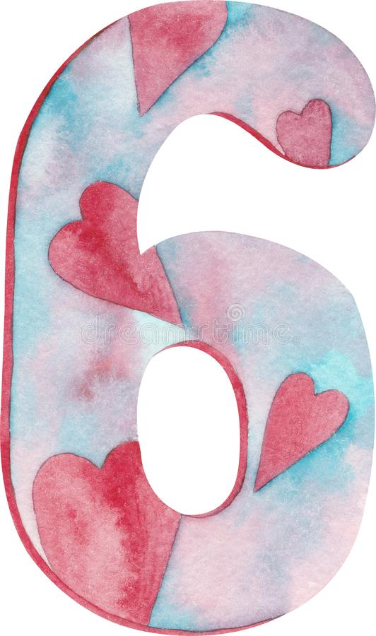 _水彩第六与桃红色和蓝色和心脏 库存例证