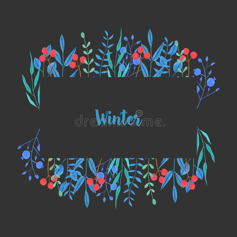 水彩简单的蓝色分支和红色莓果冬天框架 向量例证