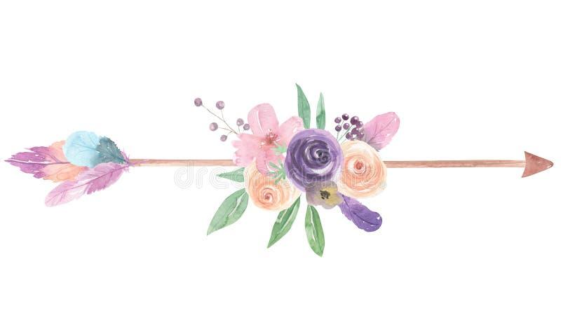 水彩箭头花花卉被绘的花束用羽毛装饰莓果 向量例证