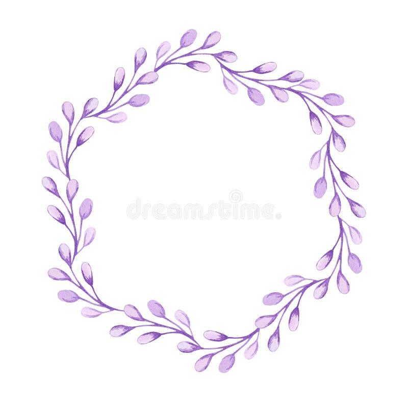 水彩紫外花卉花圈 婚礼的邀请 对卡片、设计、印刷品或者背景 皇族释放例证