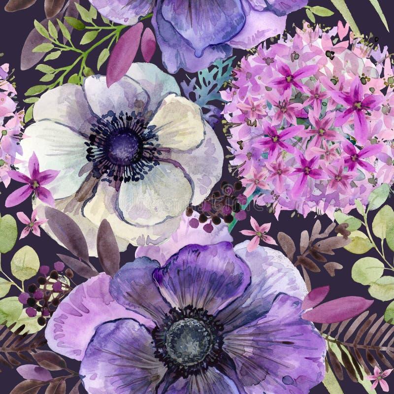 水彩紫罗兰开花无缝的样式 皇族释放例证