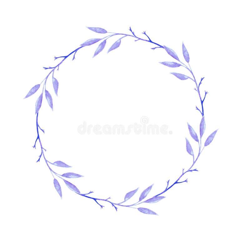 水彩紫罗兰色叶子花圈 婚礼的邀请 对卡片、设计、印刷品或者背景 皇族释放例证