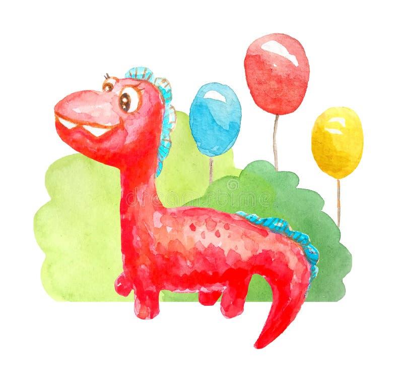 水彩红色亲切的动画片恐龙祝贺,邀请,微笑并且是和蔼可亲的在三个胶凝体球背景  向量例证