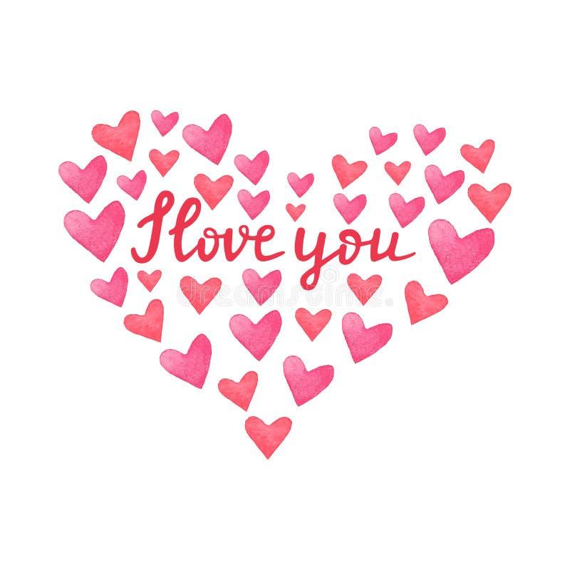 水彩红色和桃红色心脏 与手拉的词组的心形框架我爱你 手画颜色心脏的汇集 皇族释放例证